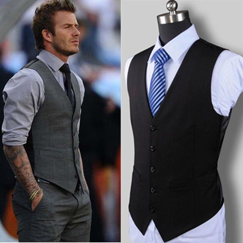 Nuevo Vestido de Boda de Mercancías de Alta Calidad de Diseño de Moda Traje de Chaleco de Algodón de Los Hombres/Gris Negro hombres de gama Alta Traje Casual de negocios Chaleco