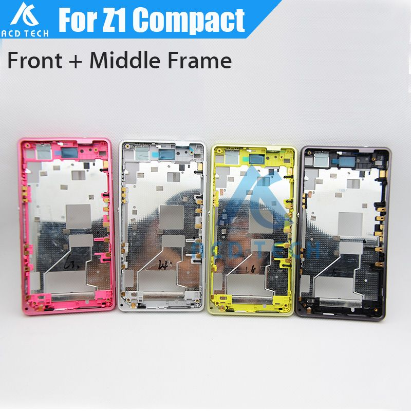 Dower Me Replacement LCD Front Frame + Metal Middle Frame With Dust Plug For Sony Xperia Z1 Compact M51W Z1mini D5503