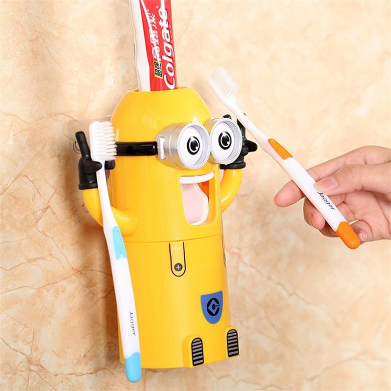 Children Bathroom Products Cute Design Set Cartoon Toothbrush Holder Automatic Toothpaste Dispenser Toothpaste Squeezers