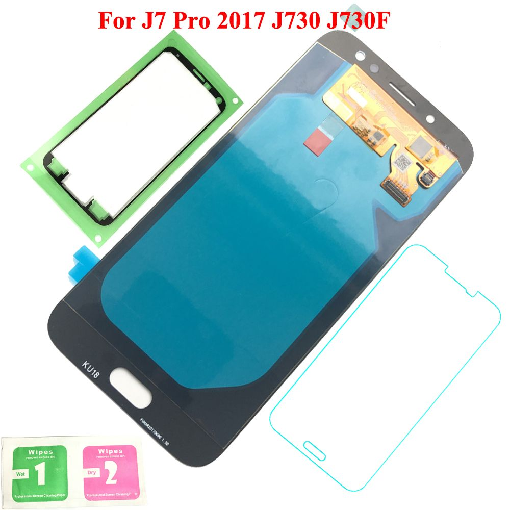 FIX2SAILING Super AMOLED For Samsung Galaxy J7 Pro 2017 J730 J730F LCD Display Touch Screen Assembly Tempered Glass Sticker