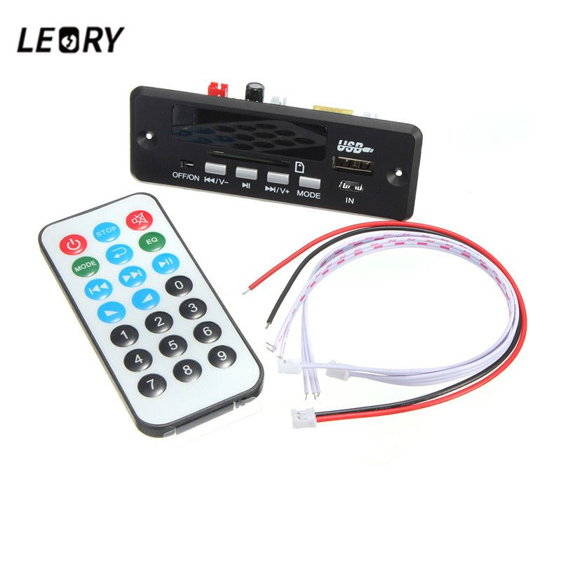 Leroy 7/12 V Bluetooth MP3 decodificador bordo pantalla digital LED con controlador remoto USB Tf del módulo radios WAV MP3