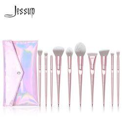 Jessup Set Makeup Sikat Set 10 Pcs Logam Pink Beauty Make Up Sikat Lembut Blush Bubuk Foundation Eyeshadow Sikat ABS menangani