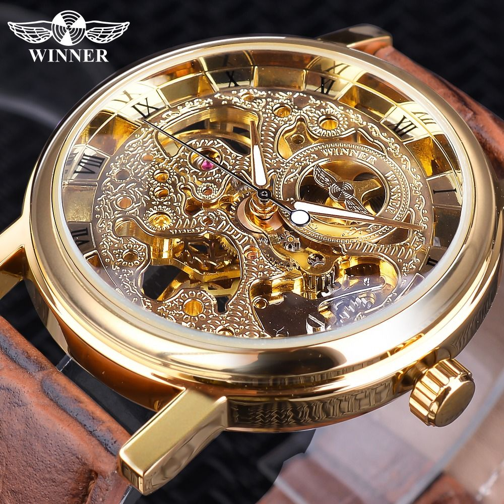 Winner Transparent Golden Case Luxury Casual Design Brown Leather <font><b>Strap</b></font> Mens Watches Top Brand Luxury Mechanical Skeleton Watch