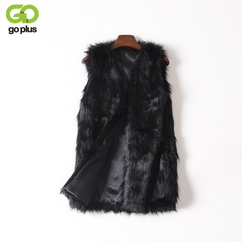 GOPLUS Women Brown Plus Size Faux Fur Vest Slim Long Faux fur Coat Women XXL Gilet Fourrure Rabbit Fur Femme Vest Long Coat