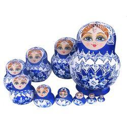 Boneka Cantik Mainan Kayu Matryoshka Doll Anak-anak Hadiah Rusia Bersarang Boneka Mainan Bayi Boneka Gadis 10 Pcs M09