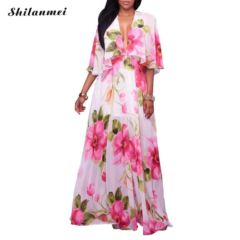 Sexy Beach Cover Up Summer Floral Tunic Printed Chiffon Long Swimsuit Cover Up Pareo Beach Bikini Cover Up Swimwear 2017