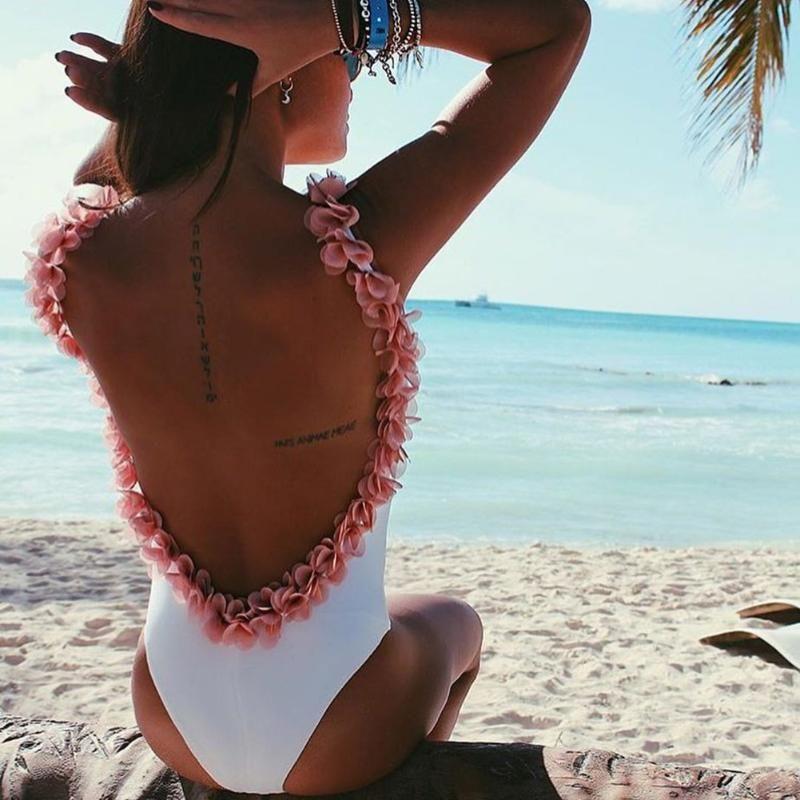 Sexy 3D Fleur Dos Nu Bikini Bikini Brésilien Femmes Floral Maillots De Bain Wireless Body Cut Out Monokini Maillot De Bain Biquini