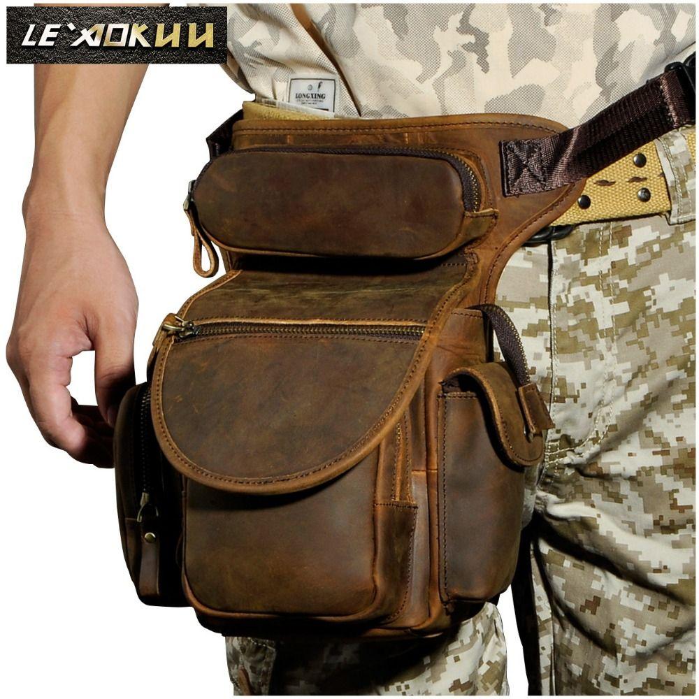 Echtes Leder Männer Design Casual Messenger Schultertasche Mode Multifunktions Taille Gürteltasche Drop Bein Tasche 3109