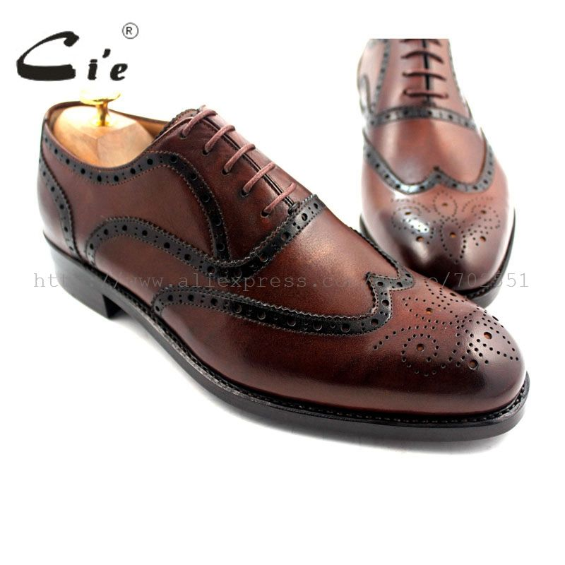 cie Free Shipping Handmade Full Brogues Genuine Calf Leather Shoe Men's Oxford Shoe Lacing Color Brown No.OX188 Goodyear Welted