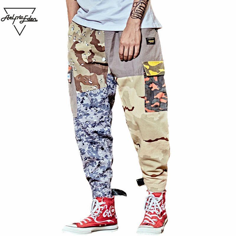 Aelfric Eden Hip Hop Sweatpants Men Patchwork Casual Trousers Vintage Color Block Harem Joggers Camo Tatical Cargo Pants UR05