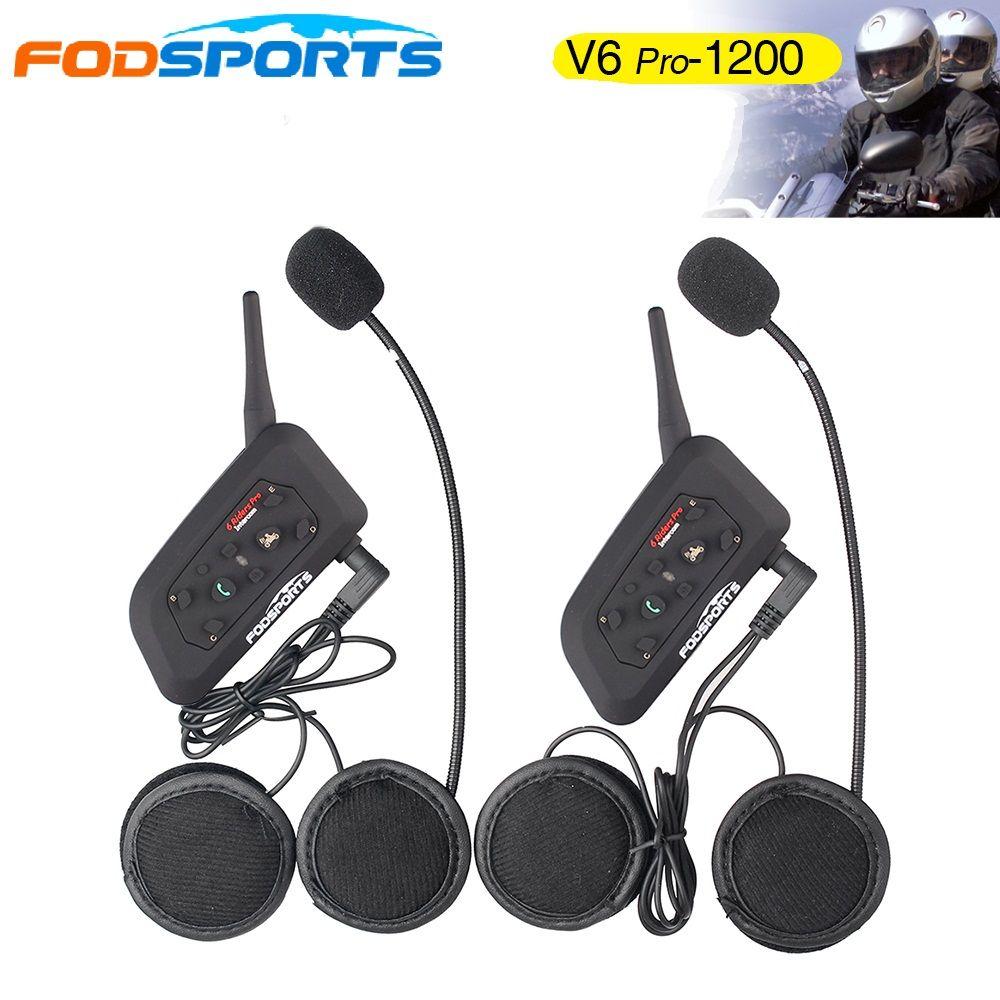 2017 Fodsports! Metal clip +2 pcs V6 Pro BT Interphone 1200M Motorcycle Bluetooth Helmet Intercom headset for 6 Rider