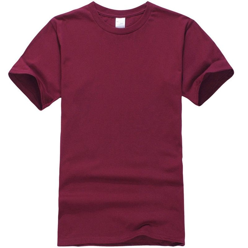 2018 T Shirt Men New Solid color T Shirt Mens Black And White 100% cotton 460#