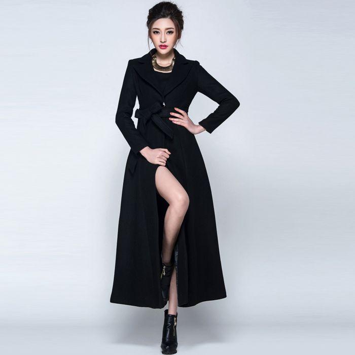 2017 зимнее пальто Для женщин черный бордовый Шерстяное пальто Тренчи для женщин длинное пальто Теплые Для женщин пальто европейский женские...