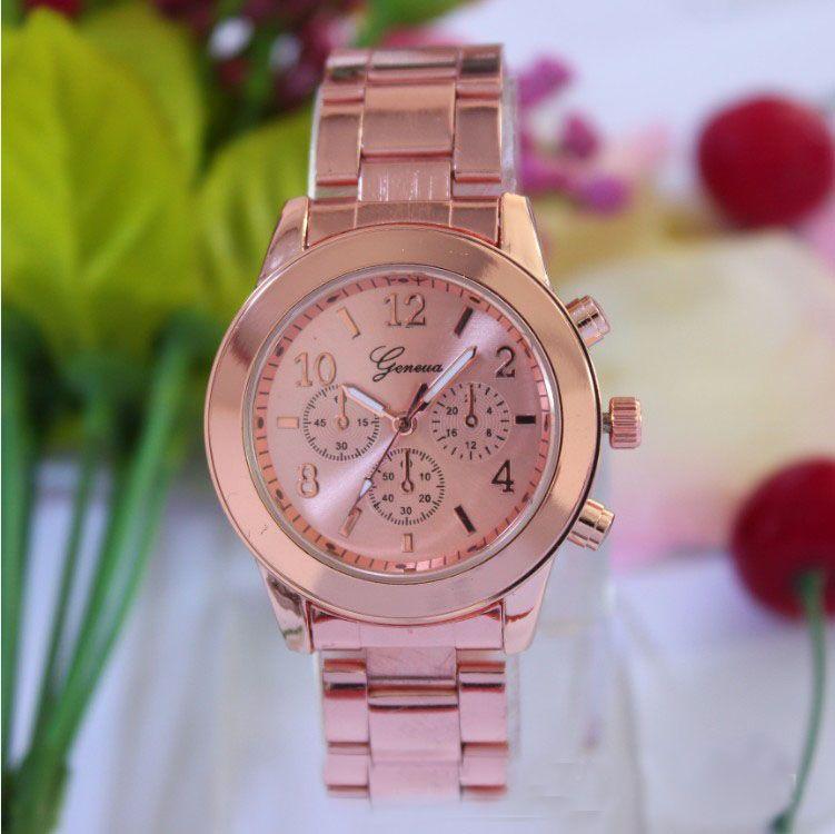 Горячая Новая мода 4 цвета часы Женева дамы Для Женщин Девочек Унисекс высокого качества Нержавеющаясталь кварцевые наручные часы