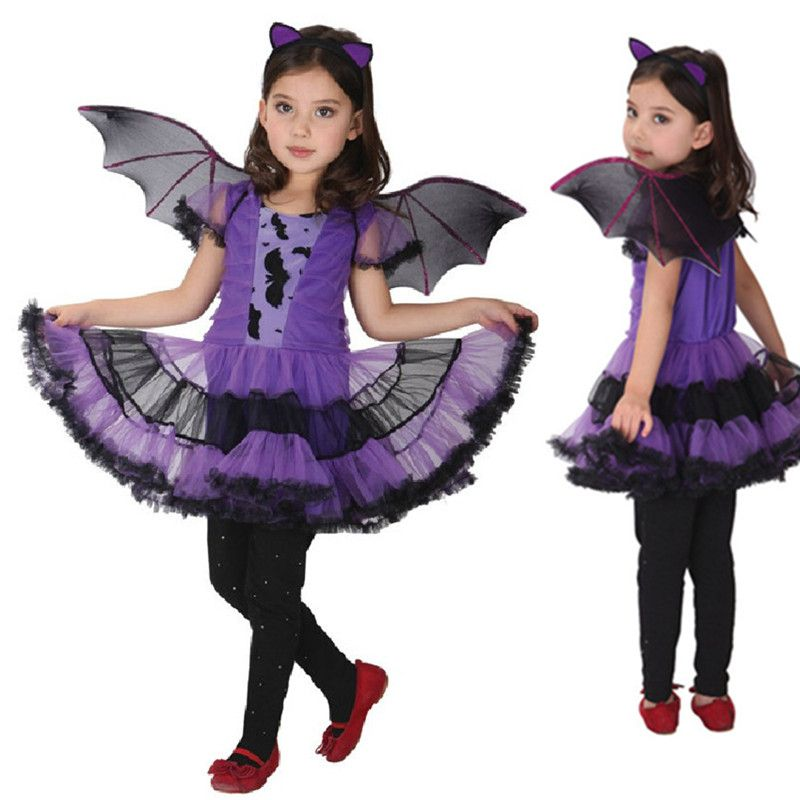 Fancy Masquerade Christmas Party Bat Cosplay Dress Witch Clothing Costume for Kids Girls with Wings New Year Purim Headband