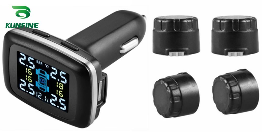 Smart Car TPMS Tire Pressure Monitoring System cigarette lighter Digital LCD Display Auto Security Alarm Systems Tyre Pressure