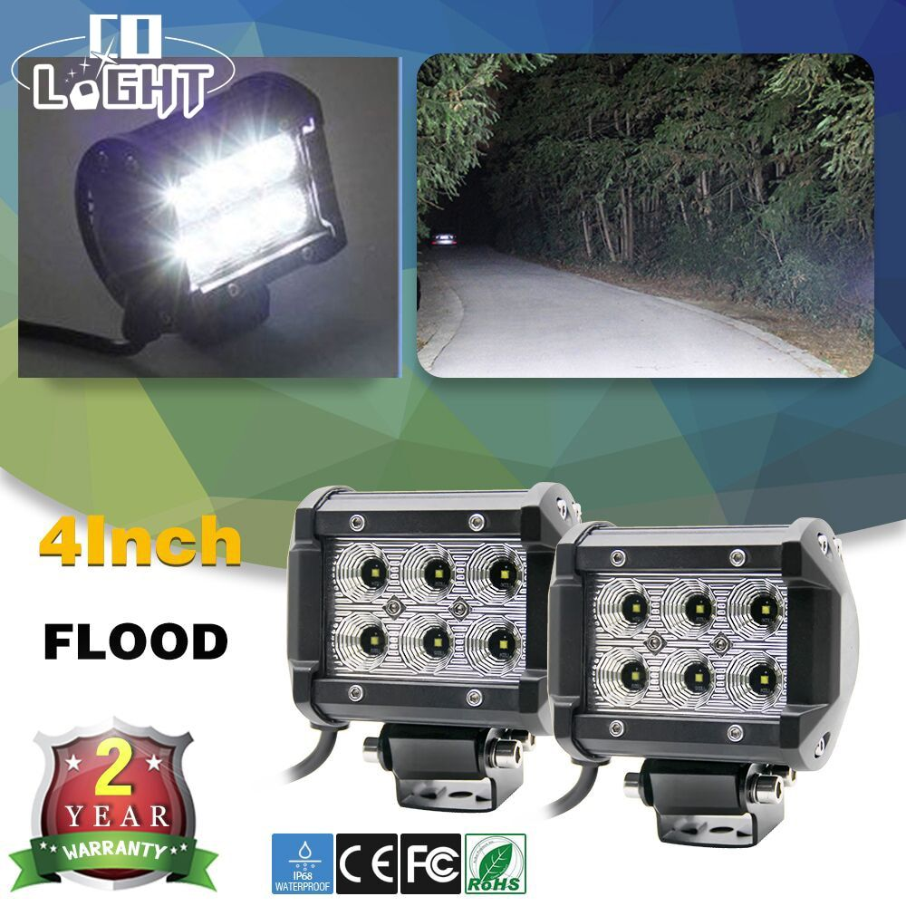 CO LIGHT 2Pcs Led Car Lights 18W Led Light Bar Flood <font><b>Beam</b></font> Led Chip 4Inch Dc 12V 24V With Zero Shipping Cost For 4X4 Offroad Car