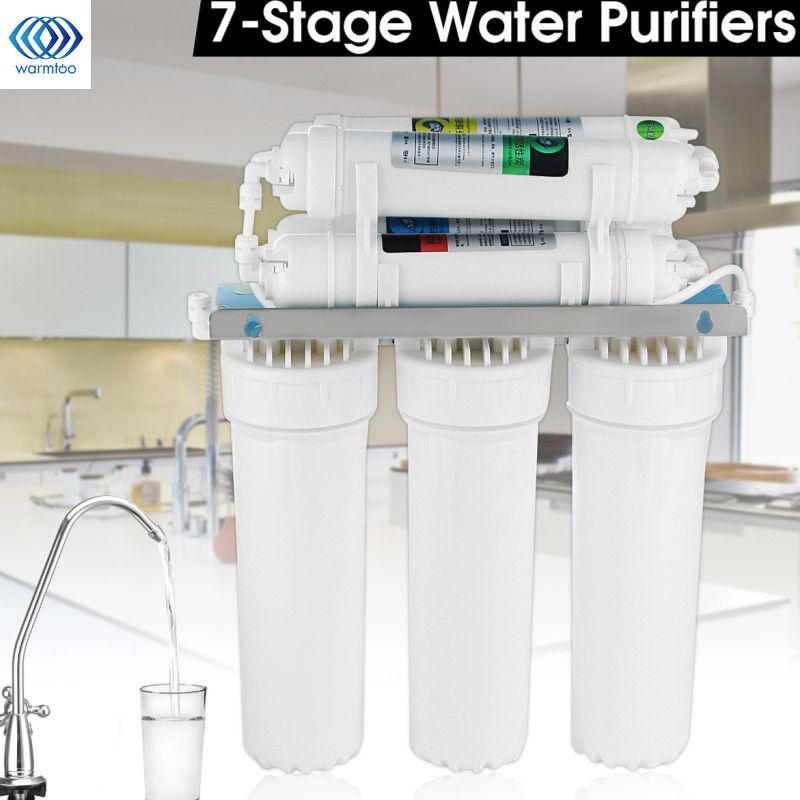 7-Stage Water Filter System with Faucet Valve Water Pipe Drinking Reverse Osmosis System RO Home Purifier Water Filters