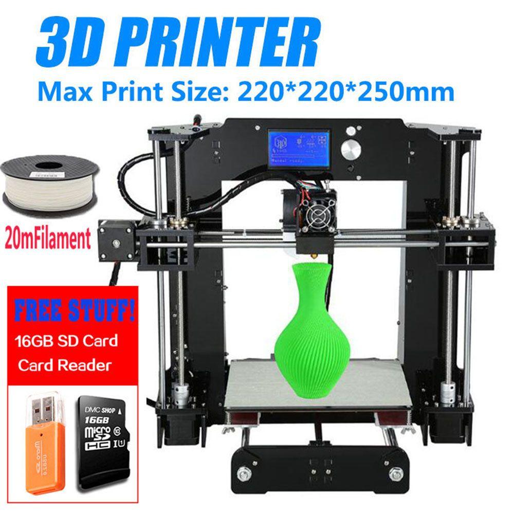 Big Promotion Cheap Price Anet A6 3D Printer High Precision Reprap Prusa i3 DIY 3D Printer Kit Large Printing Size 220*220*250mm