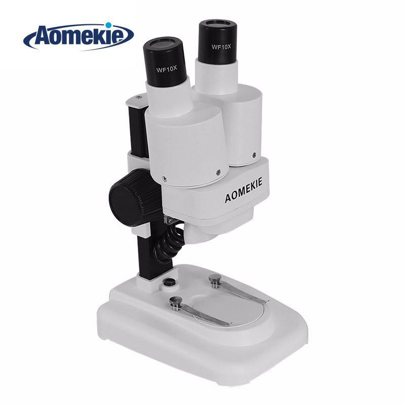 AOMEKIE 20X Binocular Stereo Microscope LED PCB Soldering Tool Mobile Phone Repair Slides Mineral Watching Microscope Kids Gift