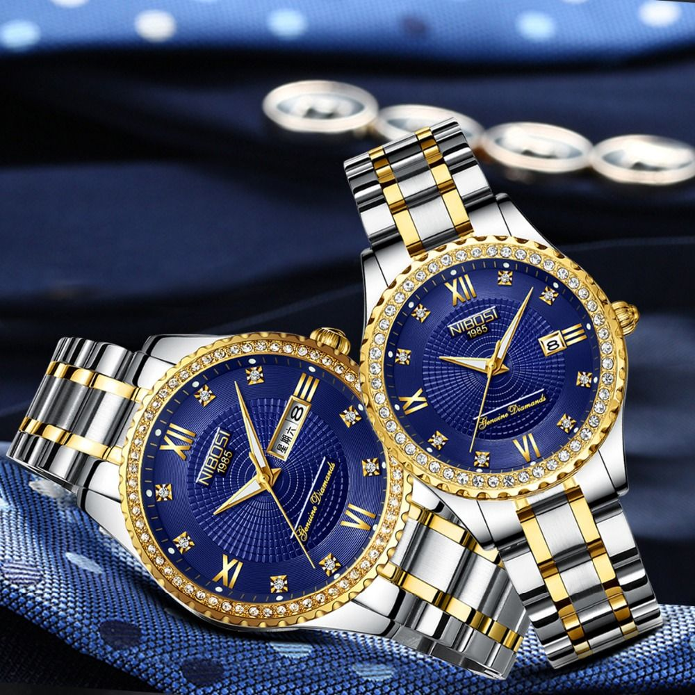 NIBOSI Women Watches Top Brand Luxury Gold Couple Watch Sport Quartz Watch Business Reloj Waterproof Wristwatch Relogio Feminino