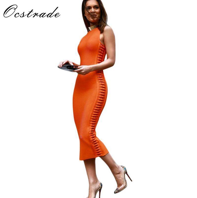 Livraison gratuite femmes robes nouveauté 2017 été Orange côté tissage Midi robes Bandage femmes rayonne rouge noir blanc