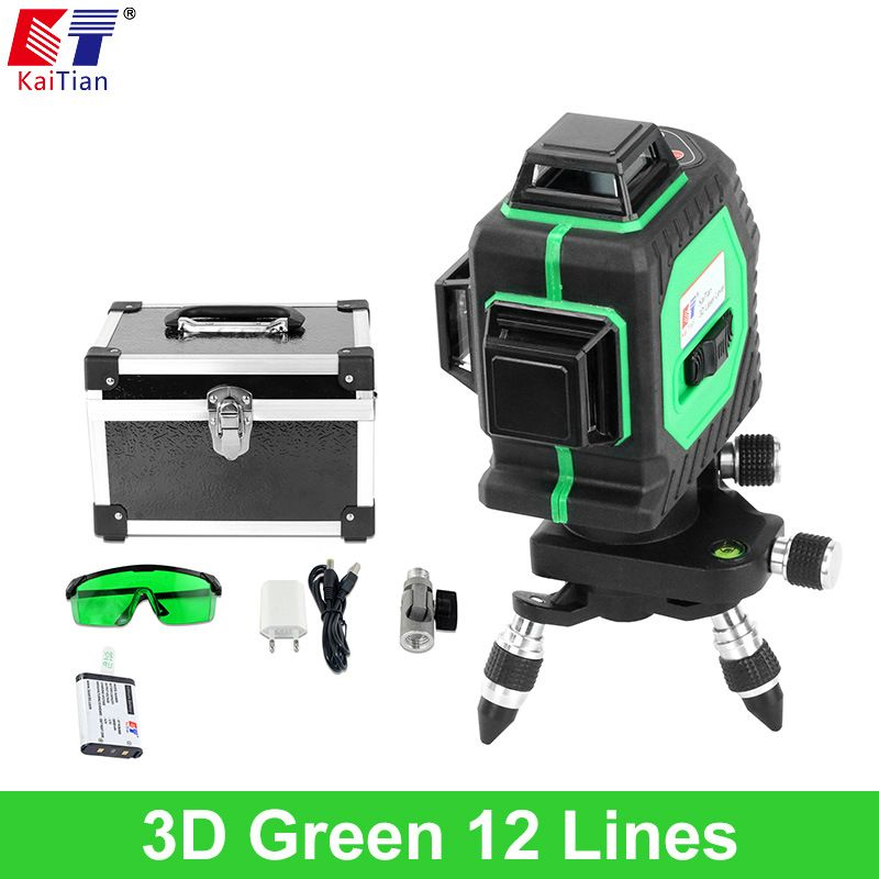 KaiTian 3D Green Laser Level Battery 12 Lines Cross Level Leveling with 360 Rotary Self Slash Function Outdoor EU Lazer Levels