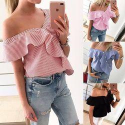 Ldzhps 2018 verano señoras moda casual hombro Tops dulce volantes manga corta blusa sexy partido rayas Camisas