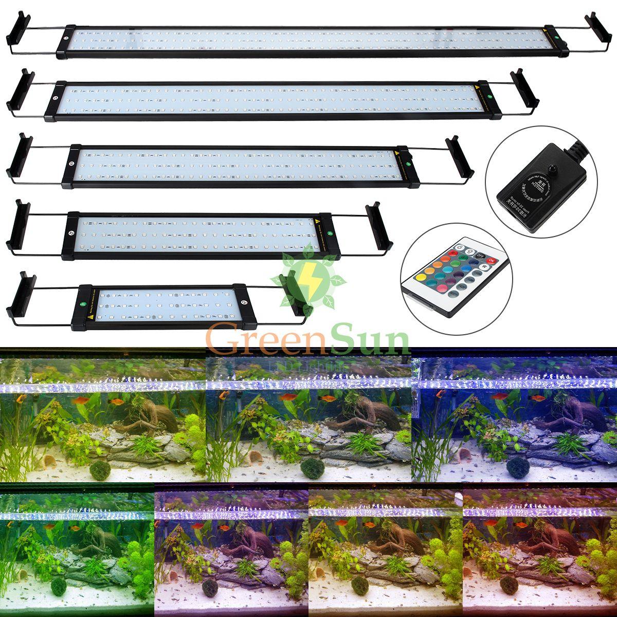 Enchufe de LA UE REINO UNIDO Enchufe LED RGB luz de Colores Acuario Pecera Tanque de peces de Acuario Decoración de Luz Clip de La Lámpara 6 W 11 W + 24Key remoto