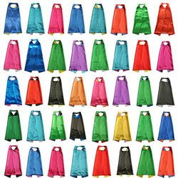 plain Solid Two Colored Satin Superhero Cape child cape, party favor, satin capes, boys girls satin capes, cheap party favor