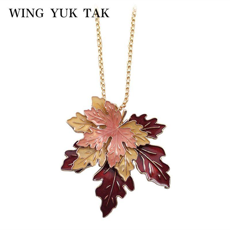 Aile yuk tak mode classique Lucite 3D érable en alliage de Zinc feuille plantes Long Vintage collier pop-corn chaîne émail bijoux