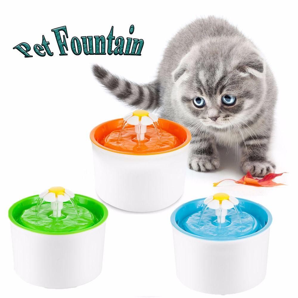 Mode Automatique 1.6L Fleur Style Chien Chat Chaton D'eau Potable Pet Fontaine Pour Animaux De Compagnie Bol Boire Plat Filtre Orange/Bleu/vert