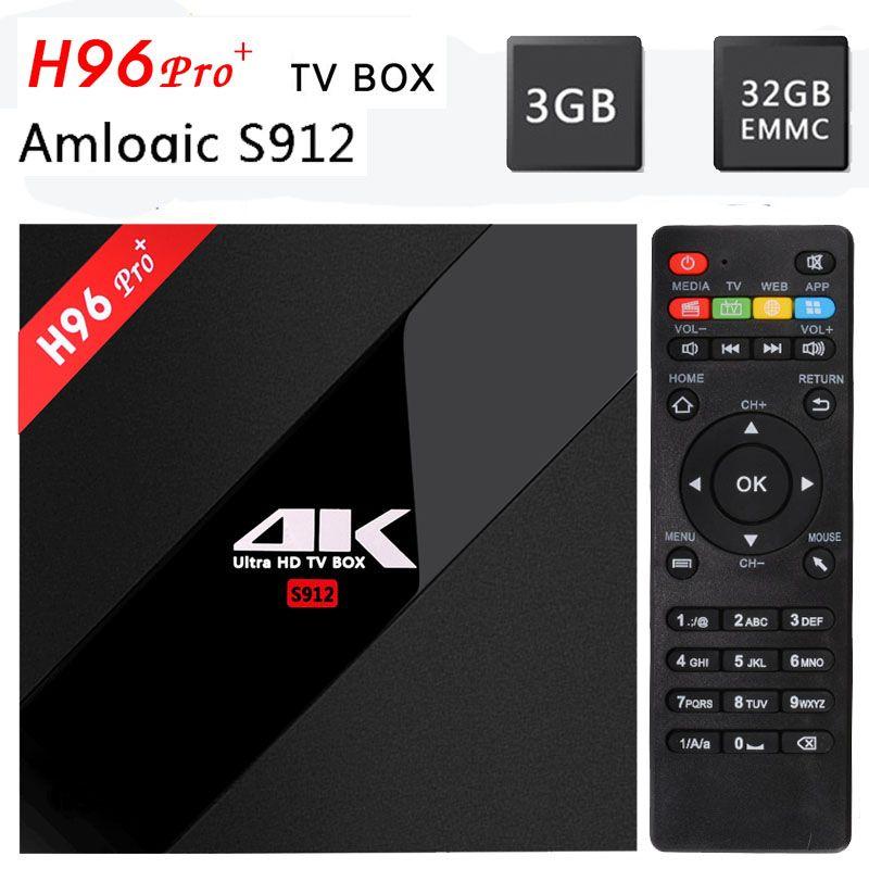 [Genuine]H96Pro plus Android 7.1 TV Box Amlogic S912 64bit Octa Core 3G/32G WiFi 2.4G/5.8G BT4.1 H.265 4K*2k UHD media Player