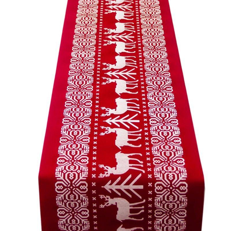 Nappe de chemin de Table de noël Elk de noël nouvel an décoration de Table de dîner pour la maison couverture de Table fournitures de fête