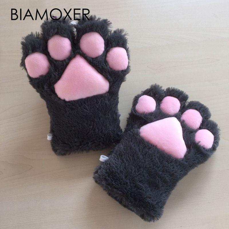 1 paire chat Animal en peluche patte griffe gants ruban Anime Cosplay Costumes lolita femmes 8 couleurs livraison gratuite