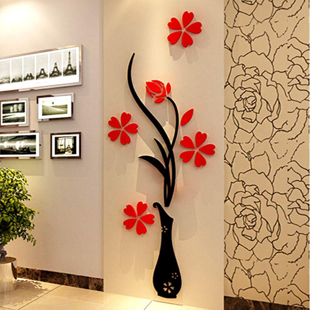 Neue Vase 3D acryl kristall dreidimensionale wandaufkleber fernsehhintergrundwand entranceway flur hauptdekoration verschiffen frei