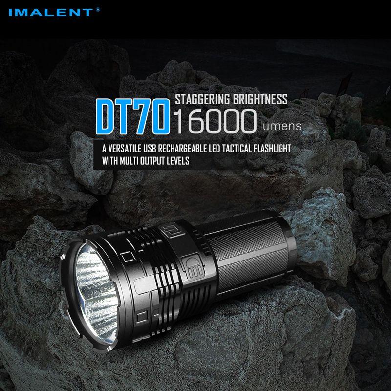 16000 lumen IMALENT DT70 USB Aufladbare LED Taktische Taschenlampe mit Multi-level Ausgang & OLED Display