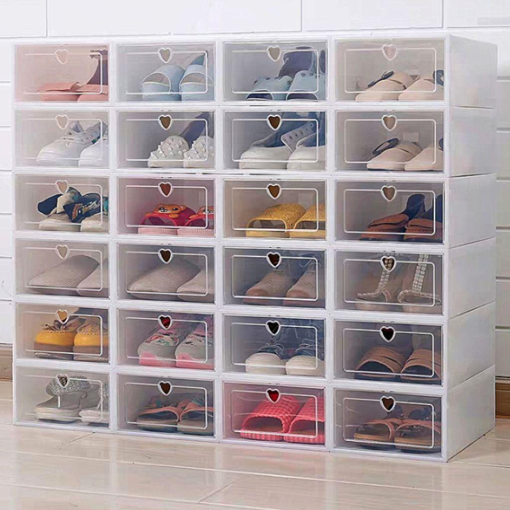6 pièces boîte à chaussures à rabat épaissie boîte à tiroir transparente boîtes à chaussures en plastique empilable boîte organisateur de chaussures boîte à chaussures rangement étagère à chaussures