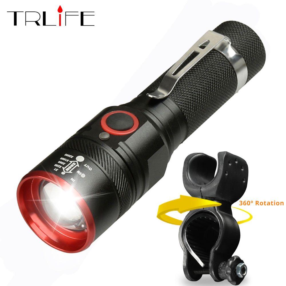 Vélo lumière Ultra-lumineux 8000 Lumens Zoom T6 vélo avant lampe de poche LED lampe USB Rechargeable vélo lumière par 18650 batterie