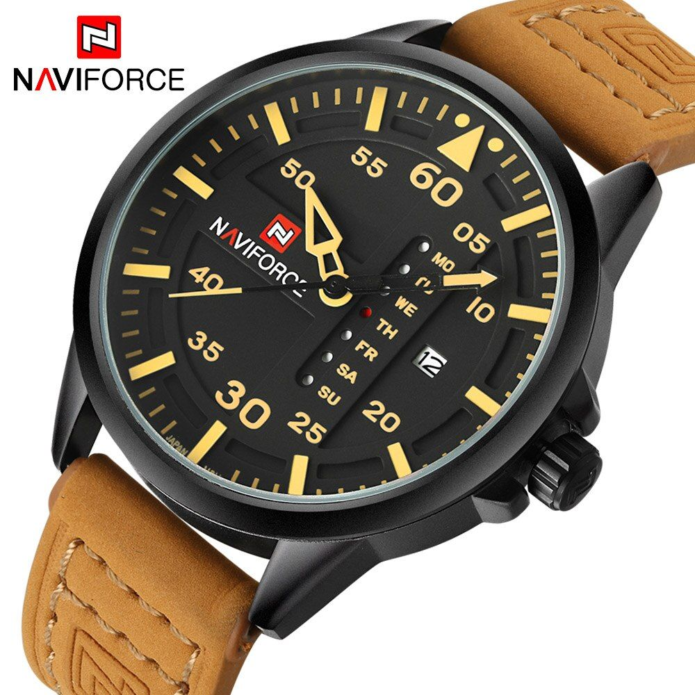 NAVIFORCE Luxury Brand Men <font><b>Army</b></font> Military Watches Men's Quartz Date Clock Man Leather Strap Sports Wrist Watch Relogio Masculino