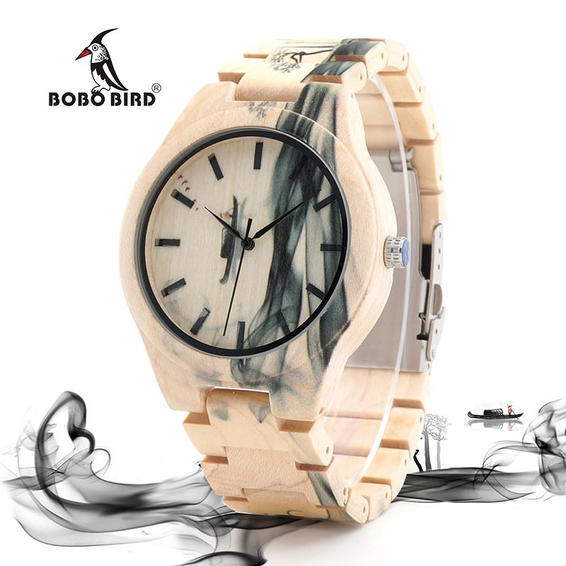 BOBO BIRD WO17 Maple Wood Watch for Men Pine Band Top Brand Luxury Wash Painting Chinoiserie Quartz Watches in Wooden Box OEM