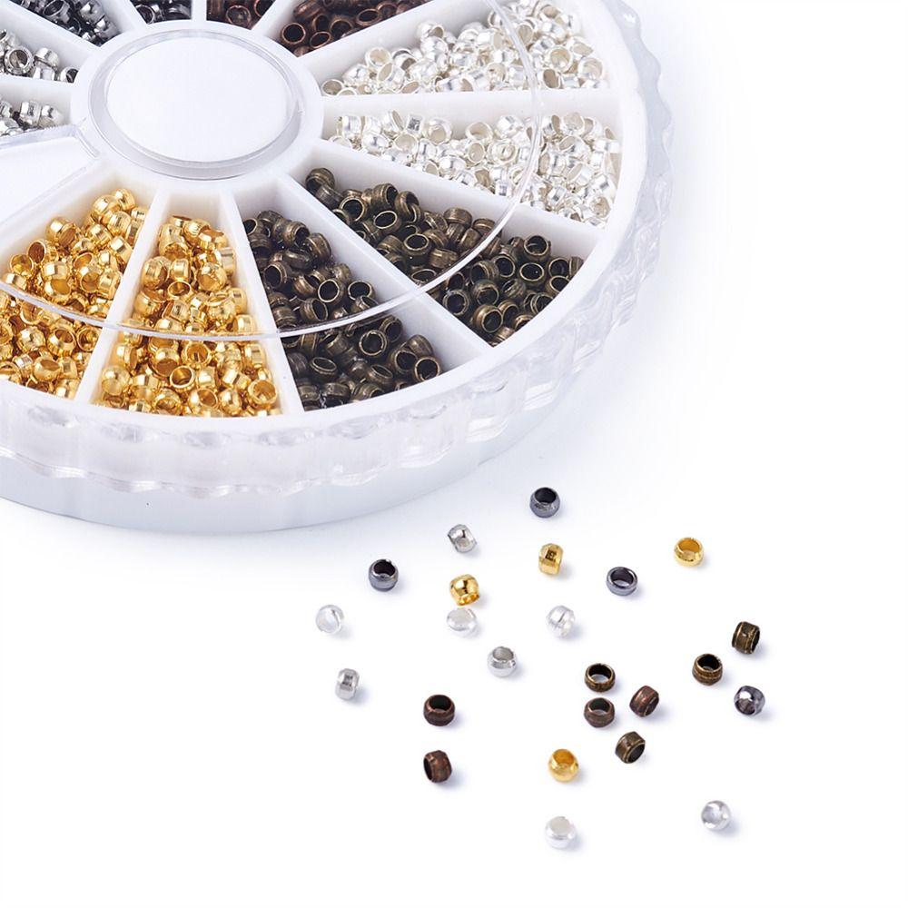 Pandahall 3000 pièces/boîte 2mm Tube sertissage fin perles lâche perle entretoise bouchons bijoux à bricoler soi-même faisant des résultats accessoires avec 1.5mm trou