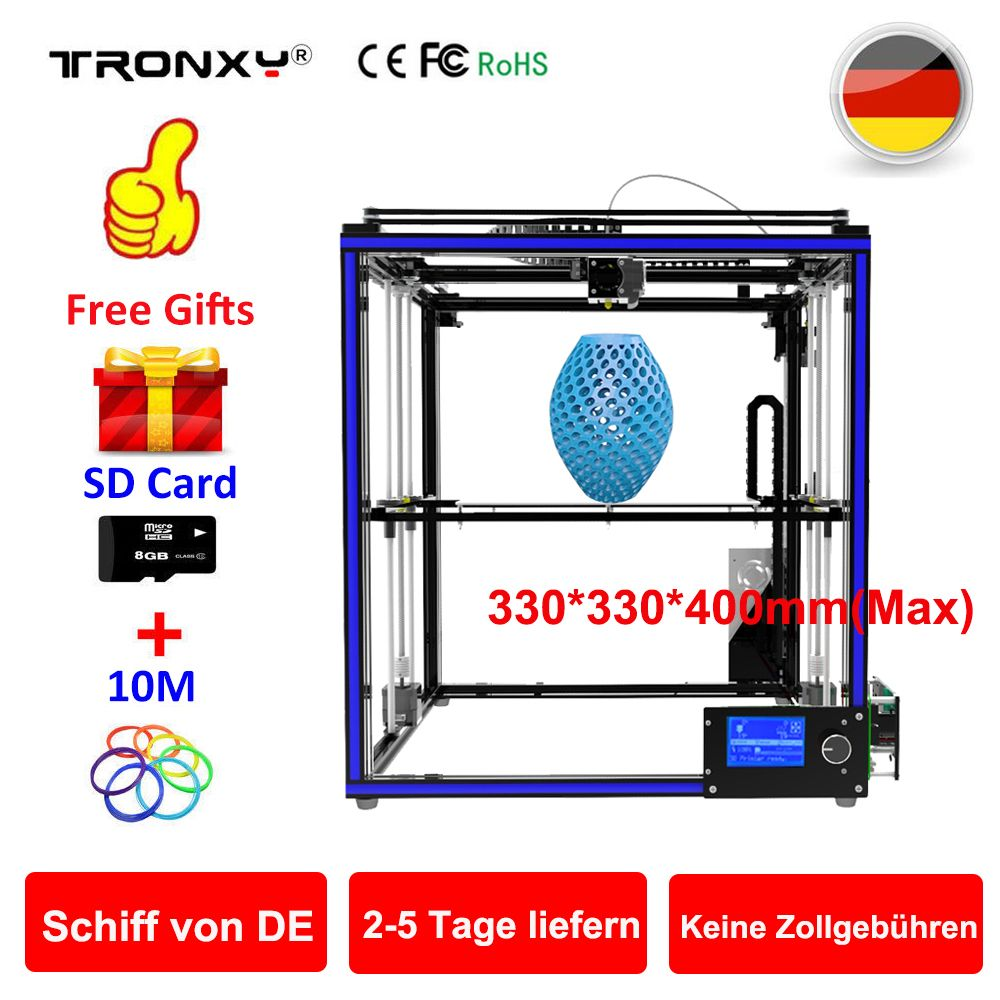 Tronxy X5S Large 3D Printer Double Z Axis Design High Precision diy kit LCD 3d printing Large Size 330*330*400mm(Max) 3D Printer
