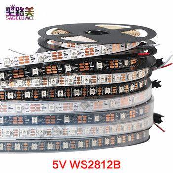 1m/5m DC5V individually addressable ws2812b led strip ws2811ic Built-in 30/60/144 pixels, smart rgb led light tape ribbon IP67