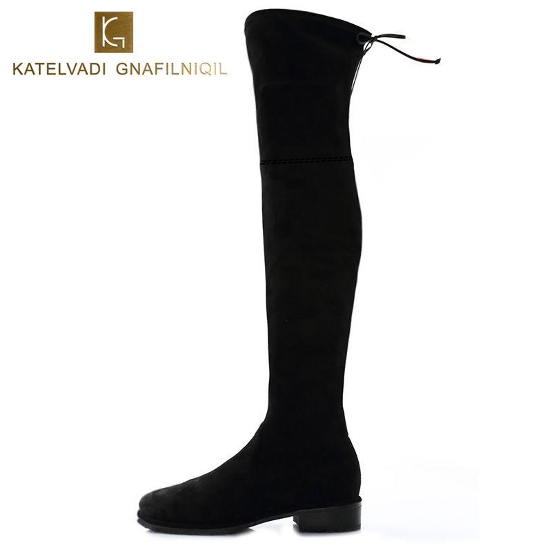 Nouveau Femmes D'hiver Bottes Stretch Slim Cours Genou Bottes Avec Peluche Noir Cuisse Haute Bottes Chaussures Femme Bout Rond Hiver bottes Noir