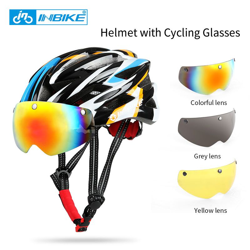 INBIKE Cycling Helmet Bicycle Helmet with Cycling Glasses Ultralight Integrally-molded Road Mountain Bike Helmet Casco Ciclismo