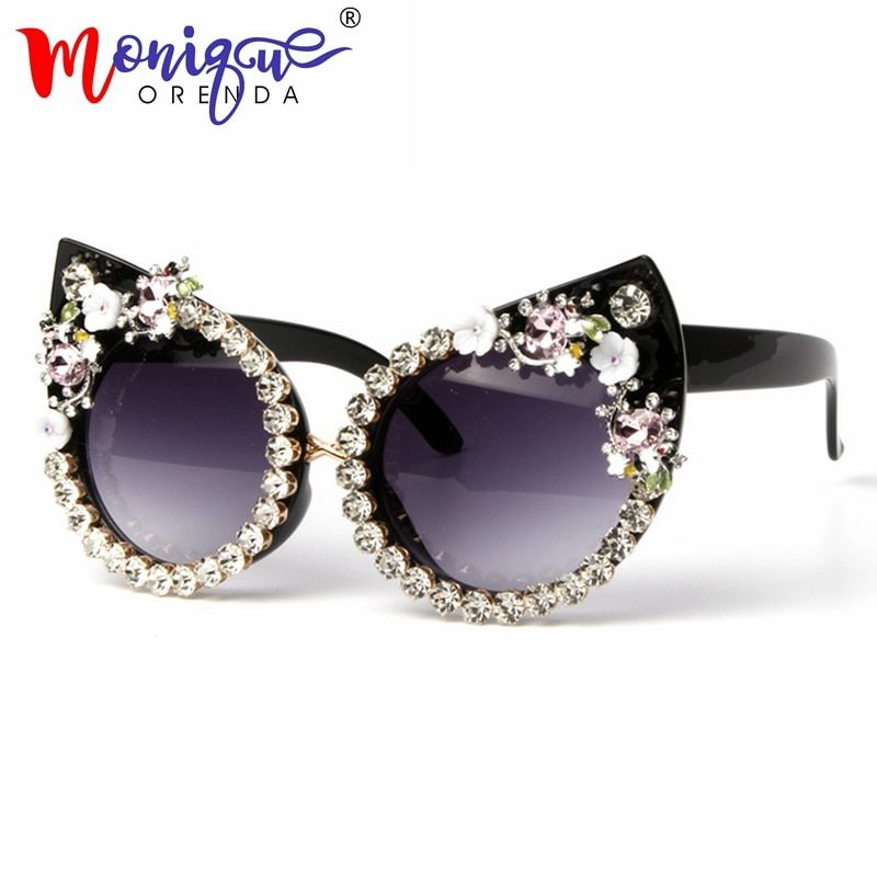 Sunglasses Women Luxury Brand glasses Metal jewel with <font><b>Rhinestone</b></font> Decoration Cat Eyes Sunglasses Vintage Shades Oculos