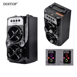 DOITOP Wireless Bluetooth Outdoor Speakers USB Charging Support TF Card Stereo Dual Loudspeaker Bass Subwoofer LED light Speaker