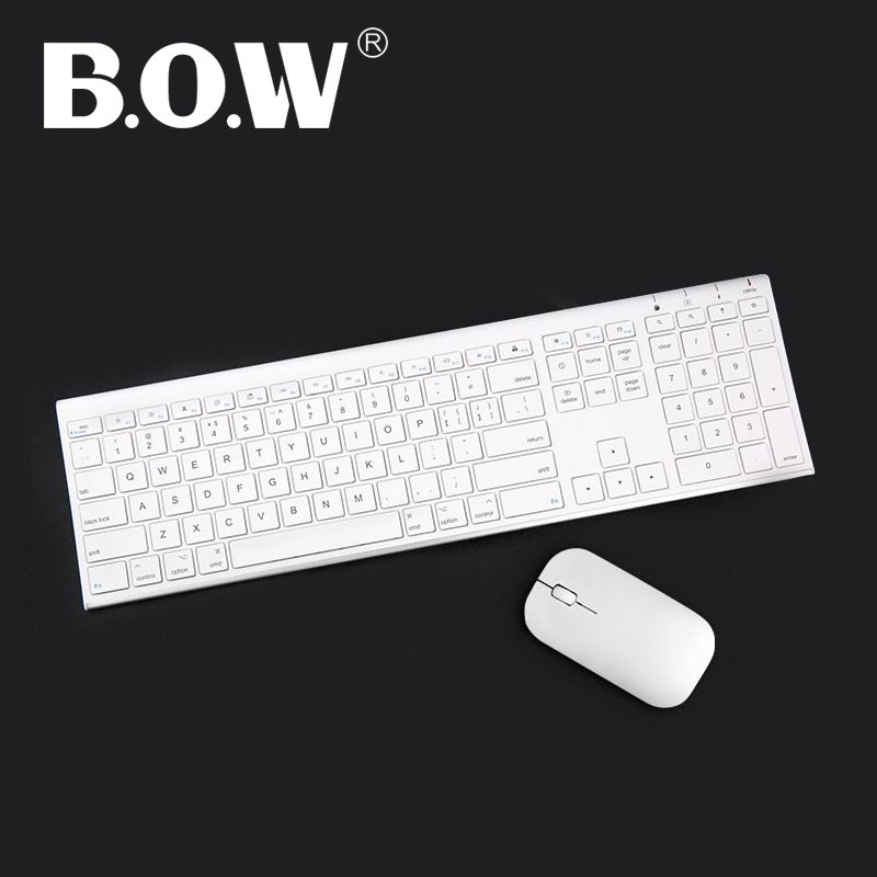 B.O.W Ultra thin Metal wireless Slim keyboard & mouse combo, Ergonomic Design & Full size Rechargeable Keyboard for computer