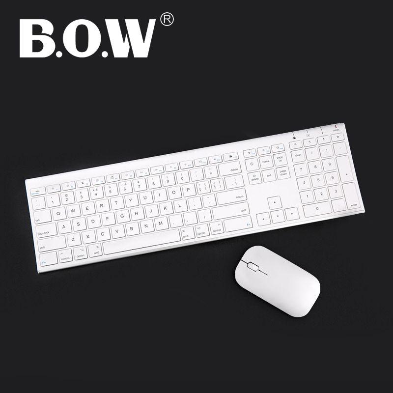 BOW Ultra mince En Métal sans fil Mince clavier et souris combo, Design Ergonomique et Pleine taille Rechargeable Clavier pour ordinateur